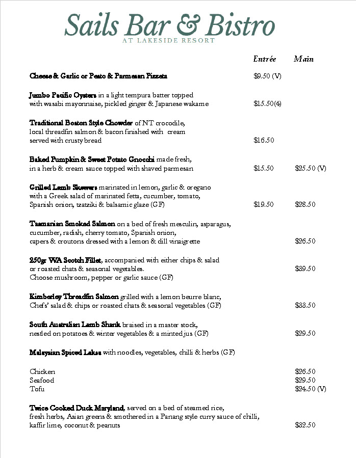 sails bar and bistro menu may 17